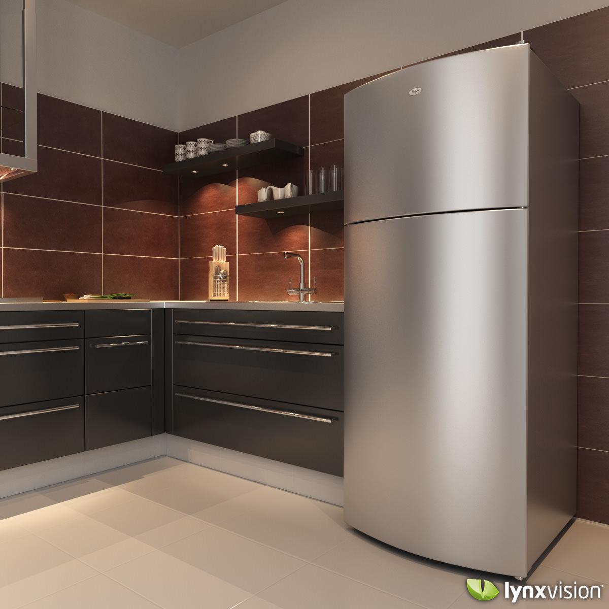 whirlpool refrigerator top freezer. whirlpool top freezer refrigerator 3d model max obj fbx 2 f