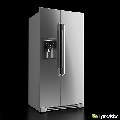 electrolux refrigerator black. electrolux side-by-side refrigerator 3d model black