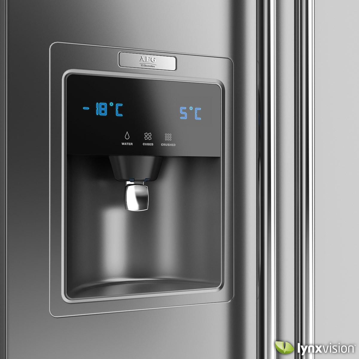 electrolux side by side refrigerator 3d model max obj fbx. Black Bedroom Furniture Sets. Home Design Ideas
