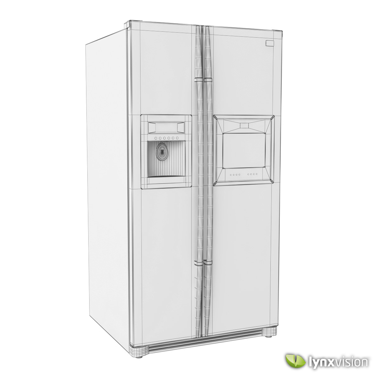 lg side by side refrigerator 3d model max obj fbx. Black Bedroom Furniture Sets. Home Design Ideas