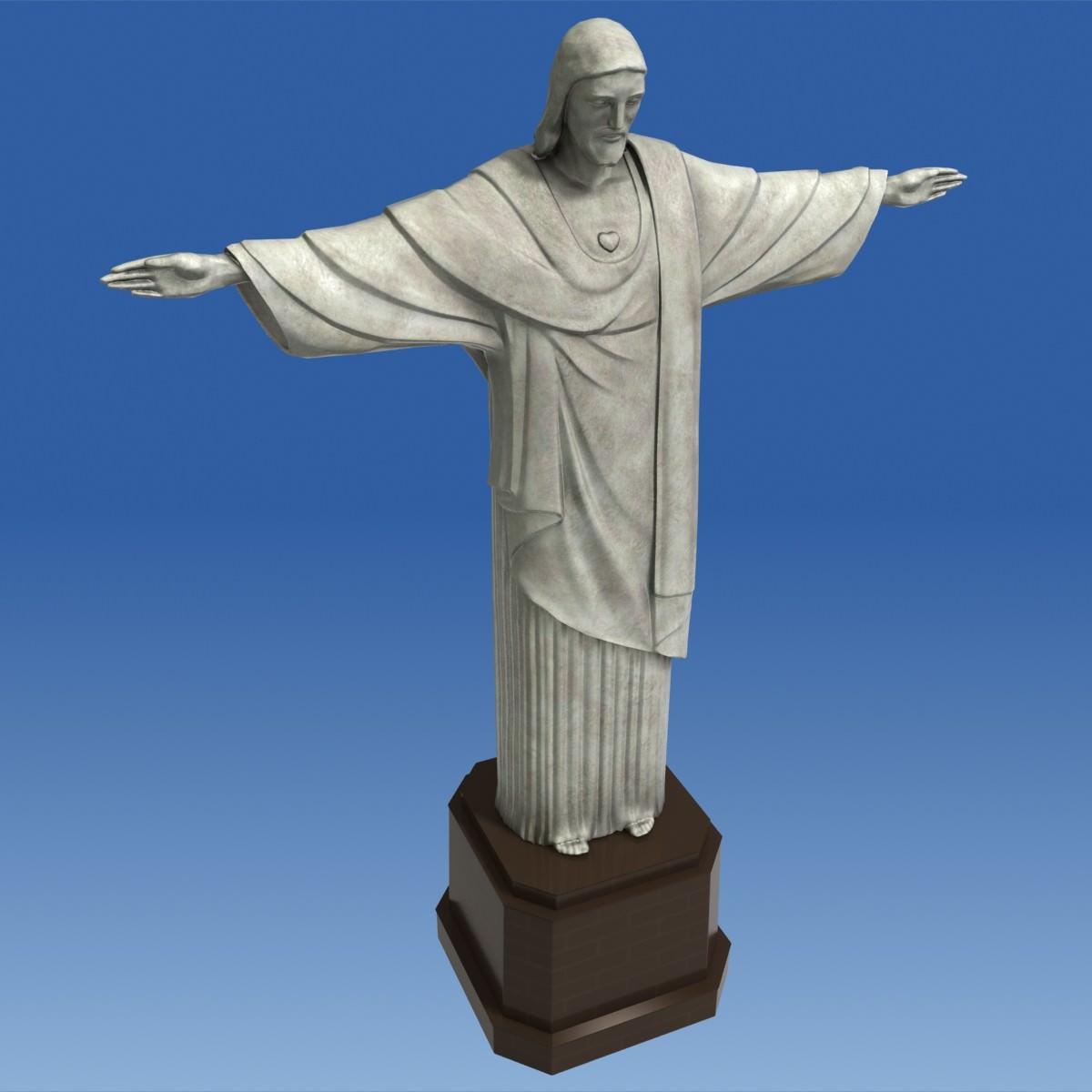 Christ Redeemer Statue 3d Model Game Ready Max Obj Fbx