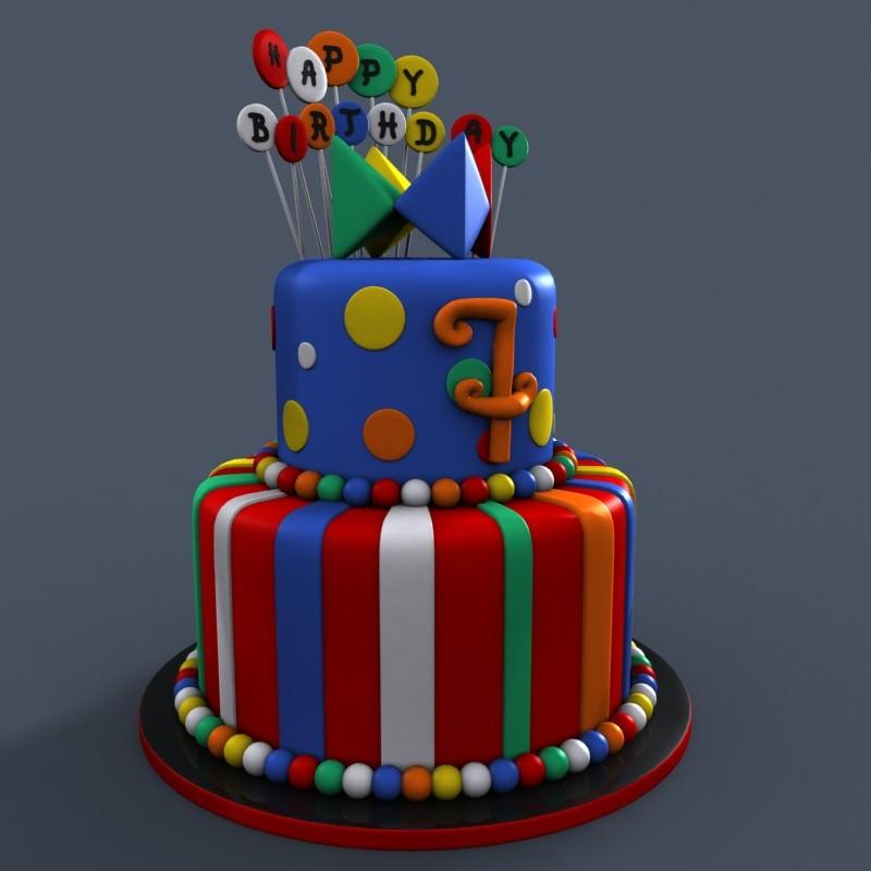 3D Models Birthday Cake 3D Model .max .obj .fbx