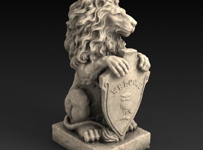 3d Models Garden Statue Lion With Welcome 3d Model 3d