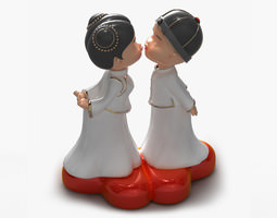 3d models kissing couple statue