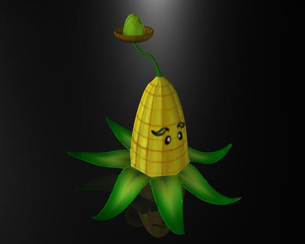 cartoon corn plant 3d model low-poly max obj mtl 3ds fbx ma mb 1