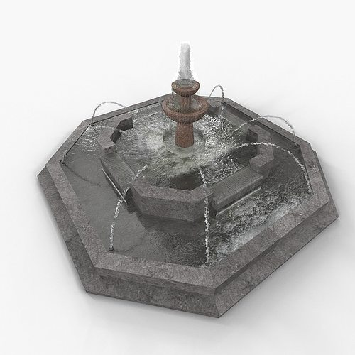 public water fountain 3d model max obj mtl 1