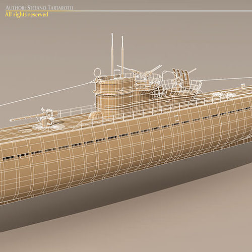 type ix u-boat submarine 3d model max obj 3ds fbx c4d dxf 1