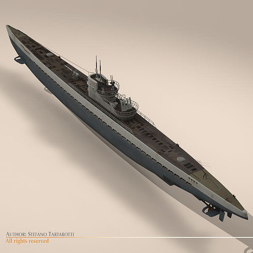 type ix u-boat submarine 3d model max obj 3ds fbx c4d dxf 14