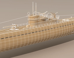 Type IX U-boat submarine 3D Model