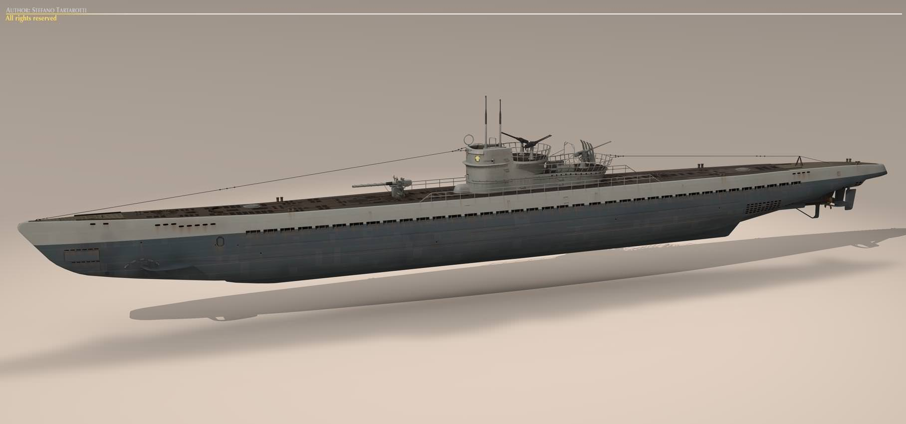 Type IX U-boat submarine 3D Model .max .3ds .fbx .c4d .dxf ...