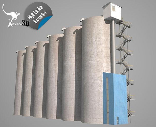 grain silos - 01 3d model obj mtl 3ds fbx hrc xsi dae skp 1