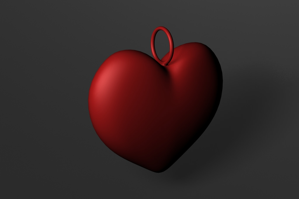 Simple heart pendant free 3d model 3d printable max obj Simple 3d modeling online