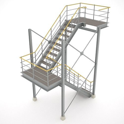 industrial stairs - 01 3d model obj mtl 3ds fbx hrc xsi dae skp 1