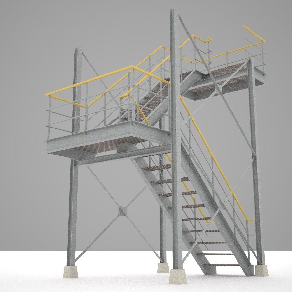 Industrial stairs 01 3d model obj 3ds fbx hrc xsi for Exterior 3d model