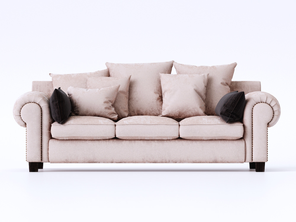 stalian sofa with pillows and studs 3d model max obj