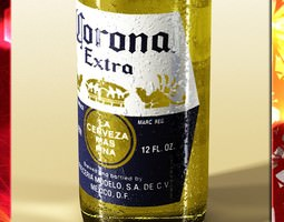 Corona Beer Bottle Coaster and Lemon 3D Model