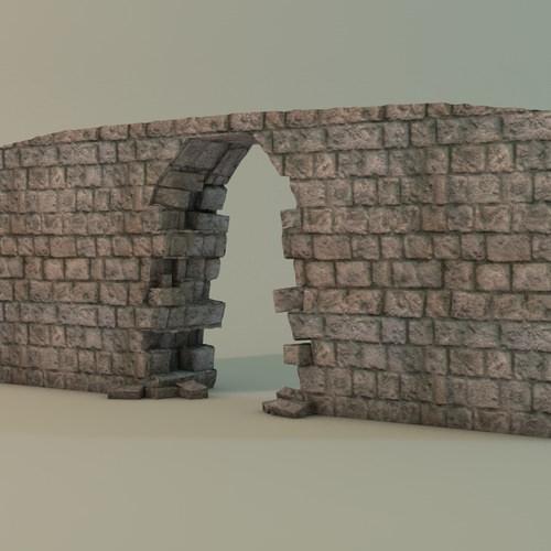 Broken Wall Module 3d Model Game Ready Max Obj 3ds Fbx