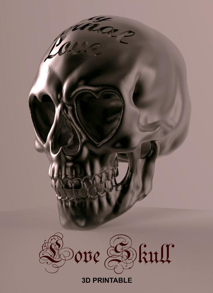 love skull 3d model 3d printable  stl