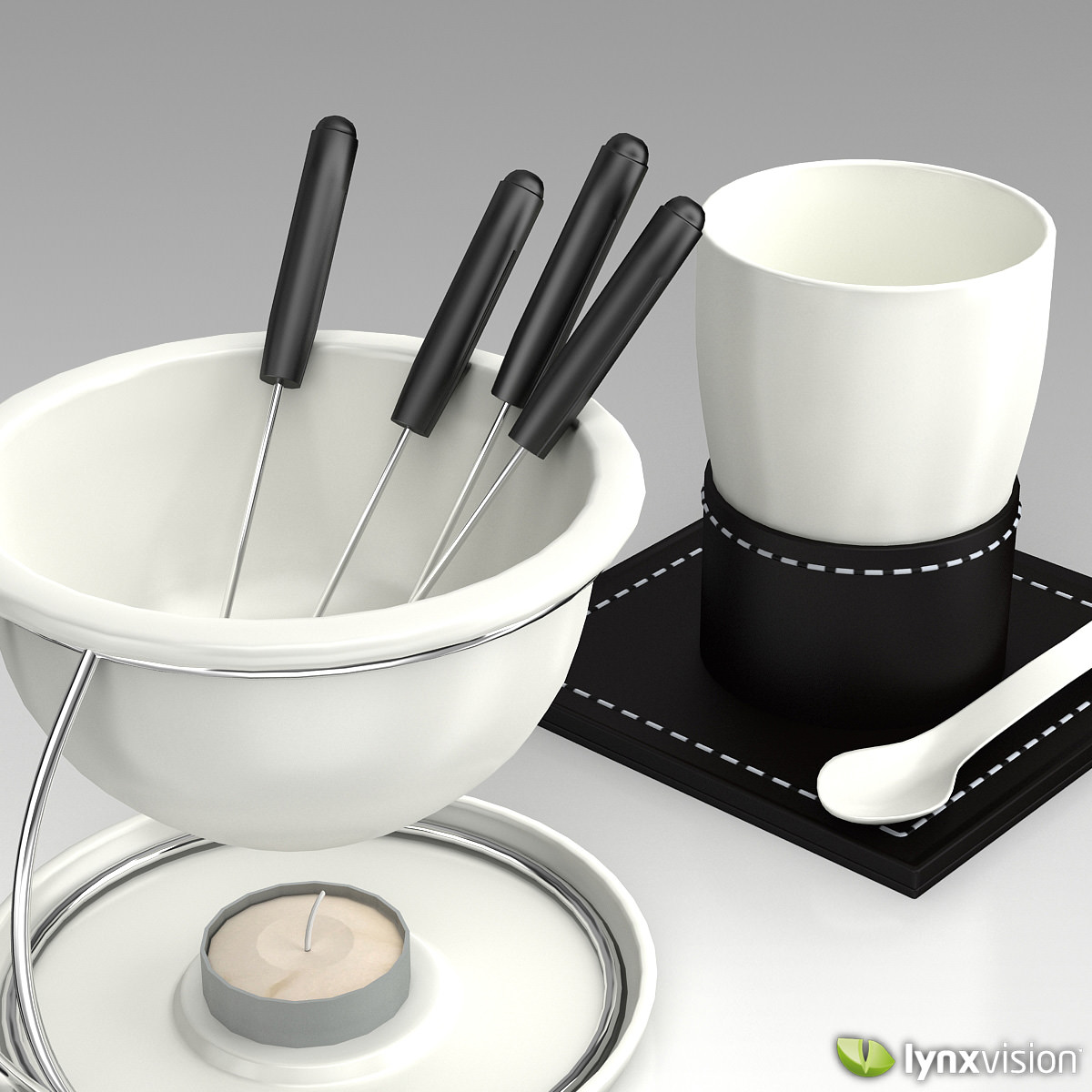 porcelain fondue set 3d model max obj fbx c4d lwo lw. Black Bedroom Furniture Sets. Home Design Ideas