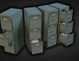 game-ready 3d asset file cabinet