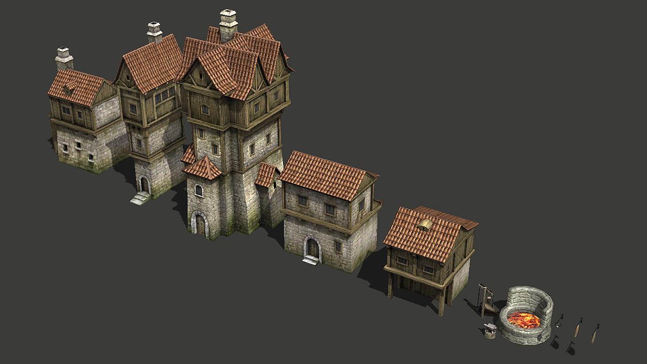 ... Medieval Buildings Pack 3d Model Low Poly Max Fbx Tga 9