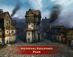 Medieval buildings pack 3D Model