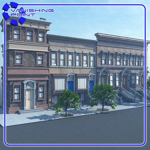 brownstone street scene 1 for vue 3d model rigged vue. Black Bedroom Furniture Sets. Home Design Ideas