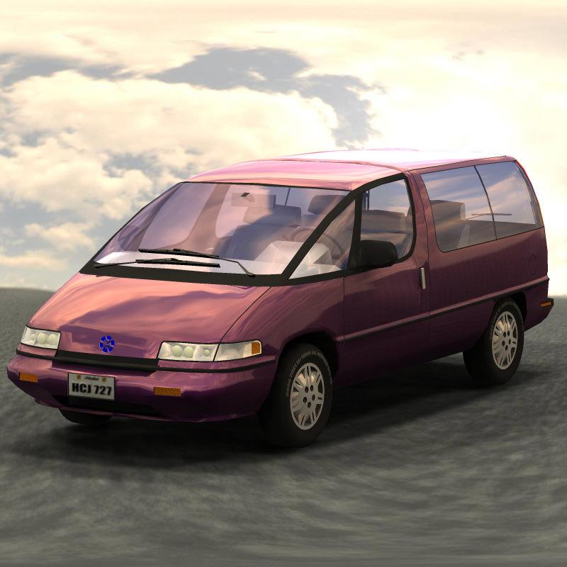 Family Minivan For Vue 3D Model Rigged .vue