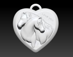 3d print model love horses pendant
