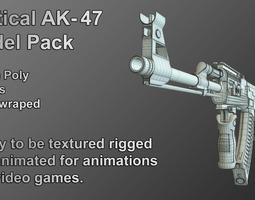 tactical ak-47 model only pack low-poly