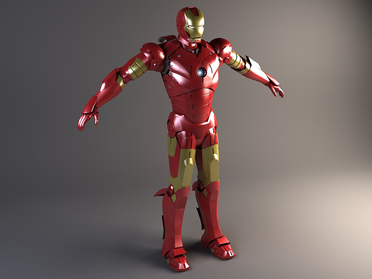4061c4b867 Iron Man Rigged 3D Model .max .obj .3ds .fbx .c4d .