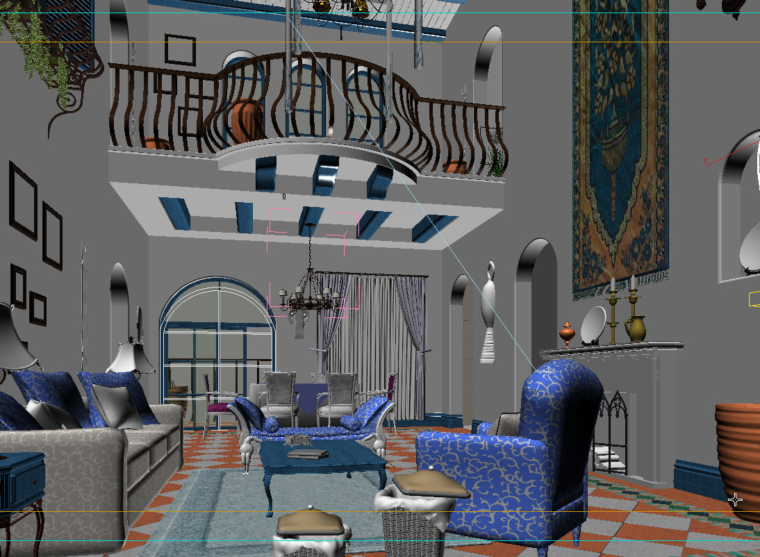 Living room with balcony 3d model max for Living room with balcony interior