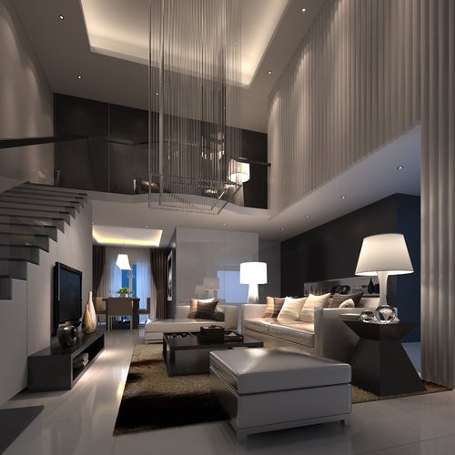 Living Room With Stairs 3d Model Max
