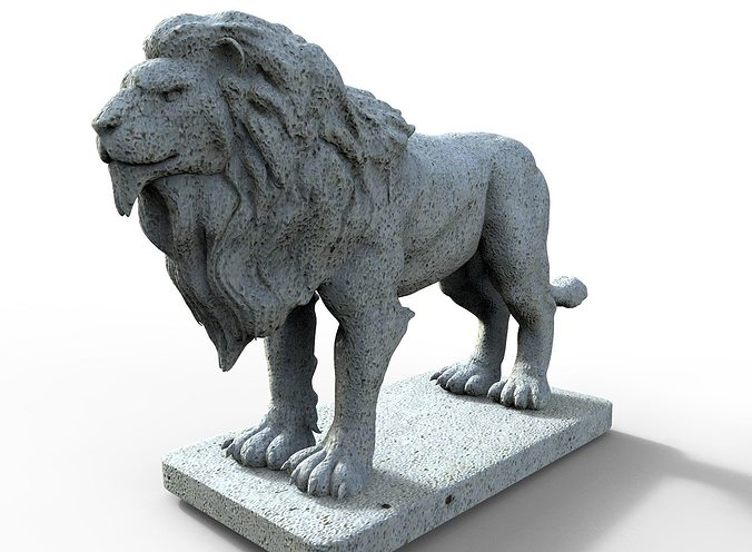 lion gargoyle 3d model obj mtl stl 1