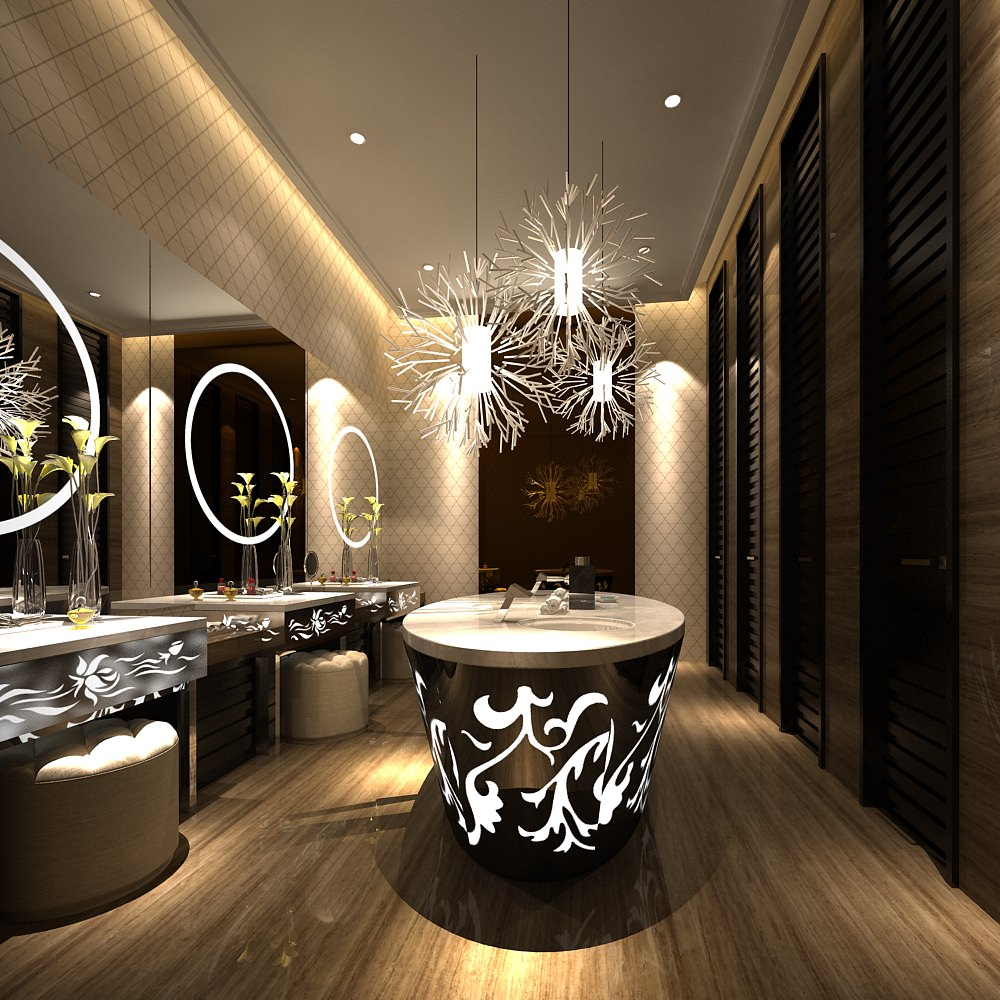 Modern luxury public restroom interior wit 3d model for 3d room decor
