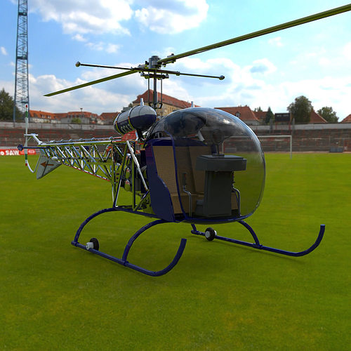 Bell 47g Helicopter Vue 3d Cgtrader