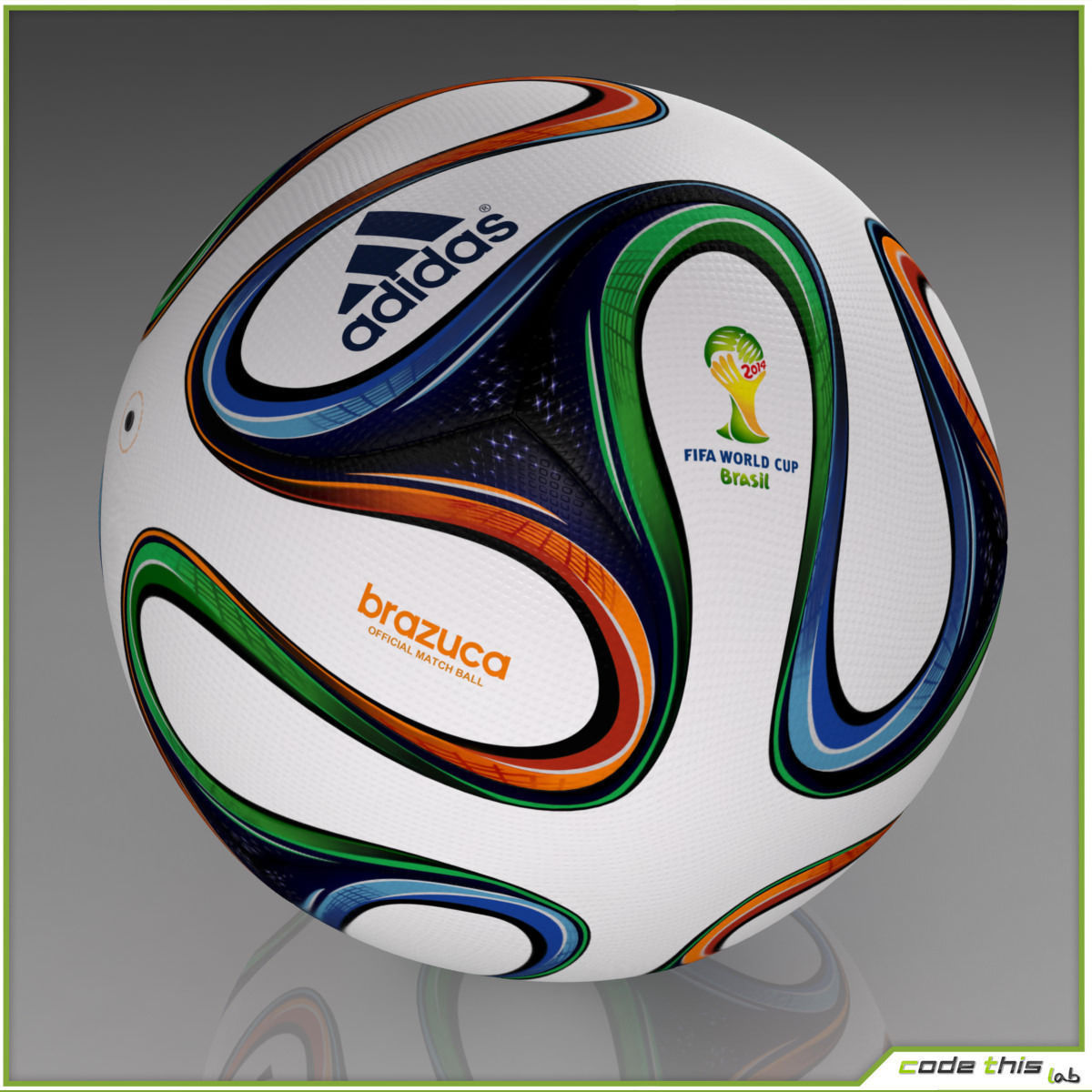 brazuca official soccer ball world cup 2014 3d model max