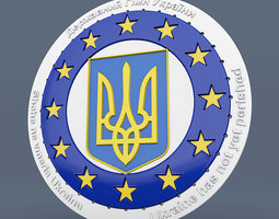 Ukraine EU Badge 3D Model