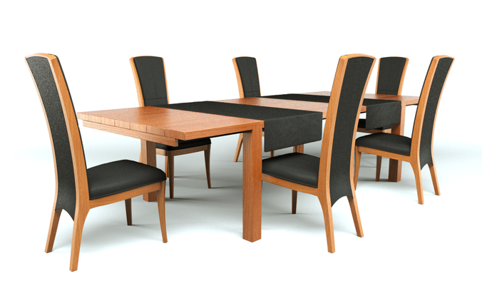 Dining table and chairs3D model