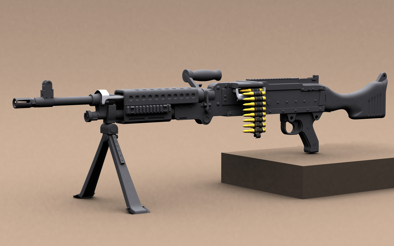 Hi-poly M240 machinegun free 3D Model MAX - CGTrader.com
