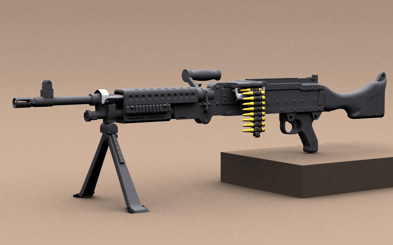Hi Poly M240 Machinegun
