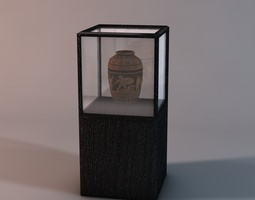 Display case with vase 3D Model