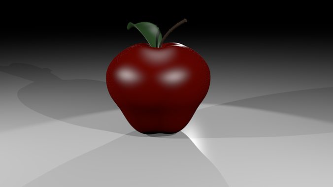 apple with materials 3d model low-poly max obj 3ds blend mtl 1
