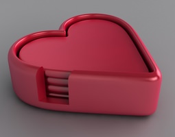 Heart Drinks Coaster Set 3D Model