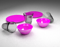 Pink Dishes 3D model