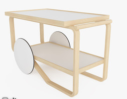 3d model tea trolley 901 by alvar aalto