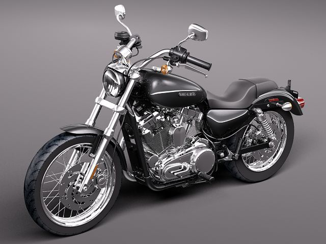 harley davidson sportster 1200 2010 3d model 3d model max. Black Bedroom Furniture Sets. Home Design Ideas