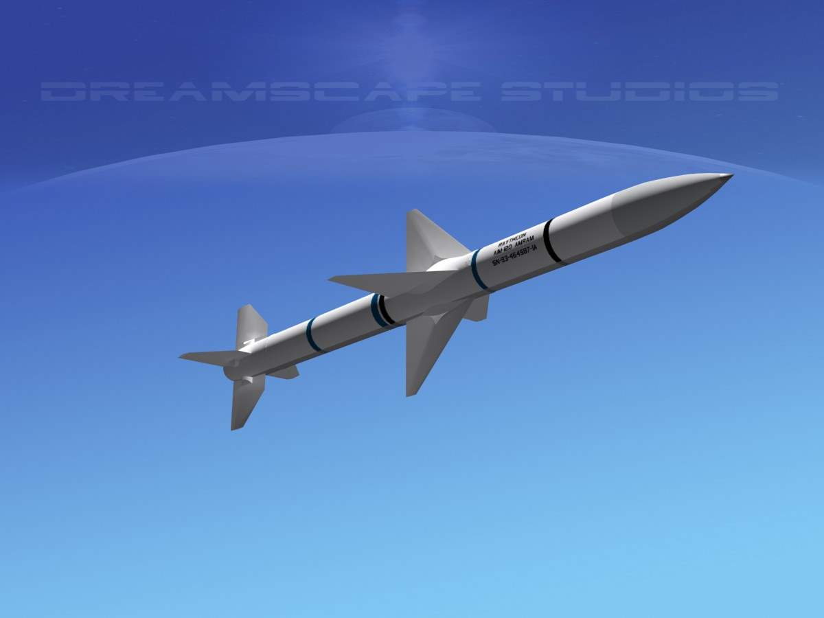 AIM 120 AMRAAM Missile 3D Model Game Ready Rigged Max
