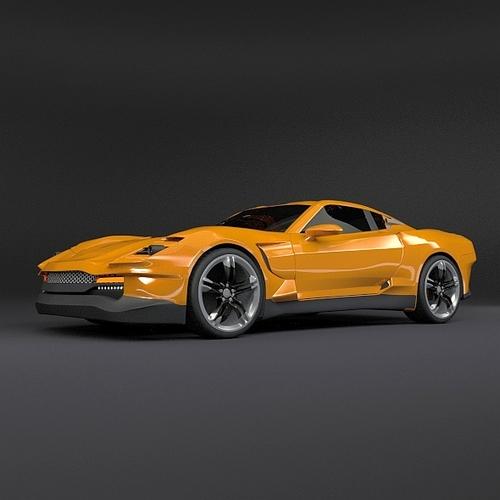 Yellow sports car3D model