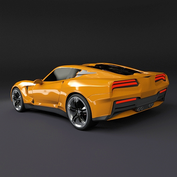 Yellow Sports Car 3D Model .obj .3ds .fbx .lwo .lw .lws